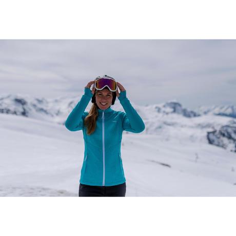 1fef6fe510dd9 Sous-veste de ski Laine femme 500 Grise Rose. Previous. Next
