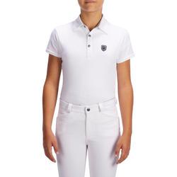 100 Compete Kids' Short-Sleeved Horseback Riding Show Polo Shirt - White