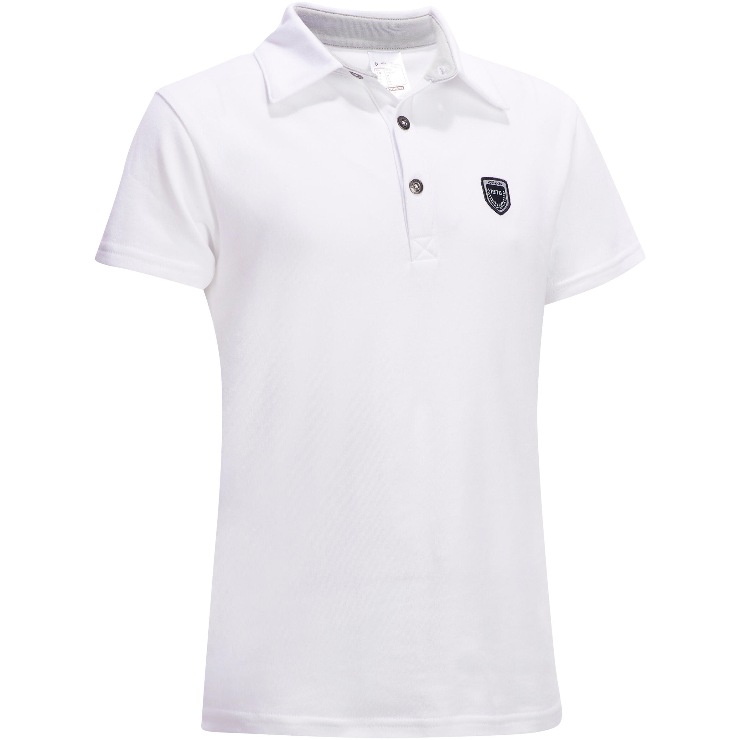 COMP100 Kids' Short-Sleeved Horse Riding Competition Polo - White