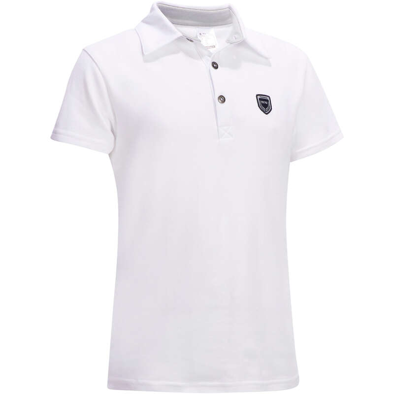 RIDING APPAREL FOR SHOW Horse Riding - 100 Compete Kids' Polo Shirt FOUGANZA - Horse Riding Clothes