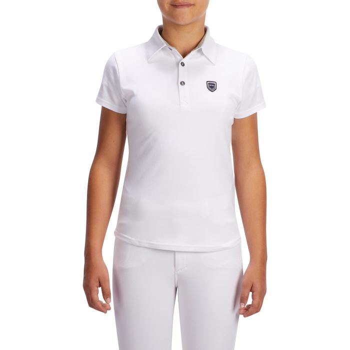 100 Compete Kids' Short-Sleeved Horse Riding Show Polo Shirt - White
