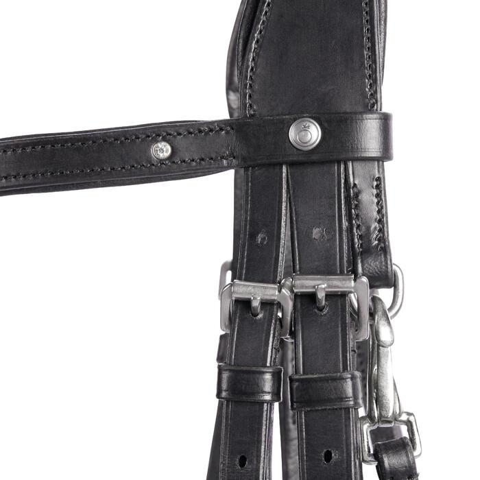 Hoofdstel ruitersport 580 strass zwart - maat pony