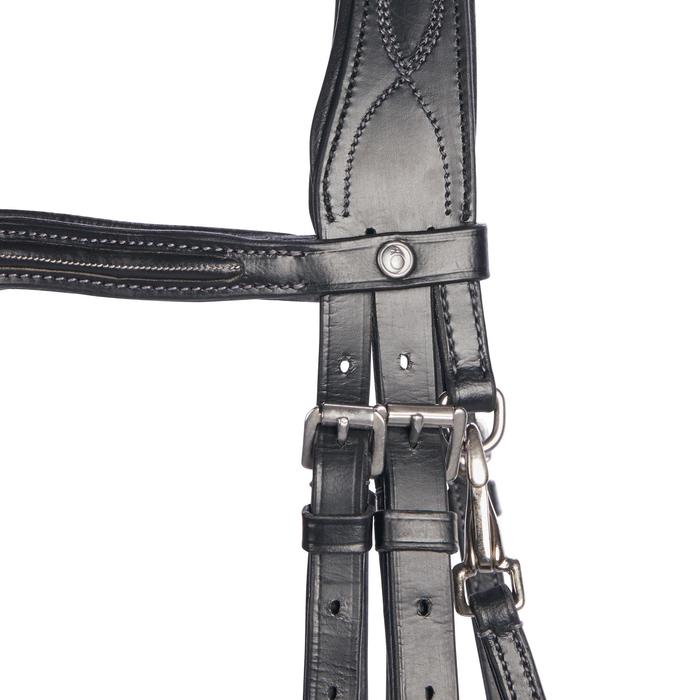 580 Topstitched Horse Riding Bridle For Horse - Black