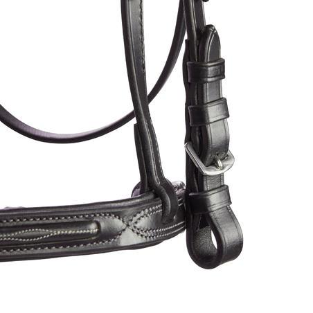 580 Topstitched Horseback Riding Bridle for Horses - Black