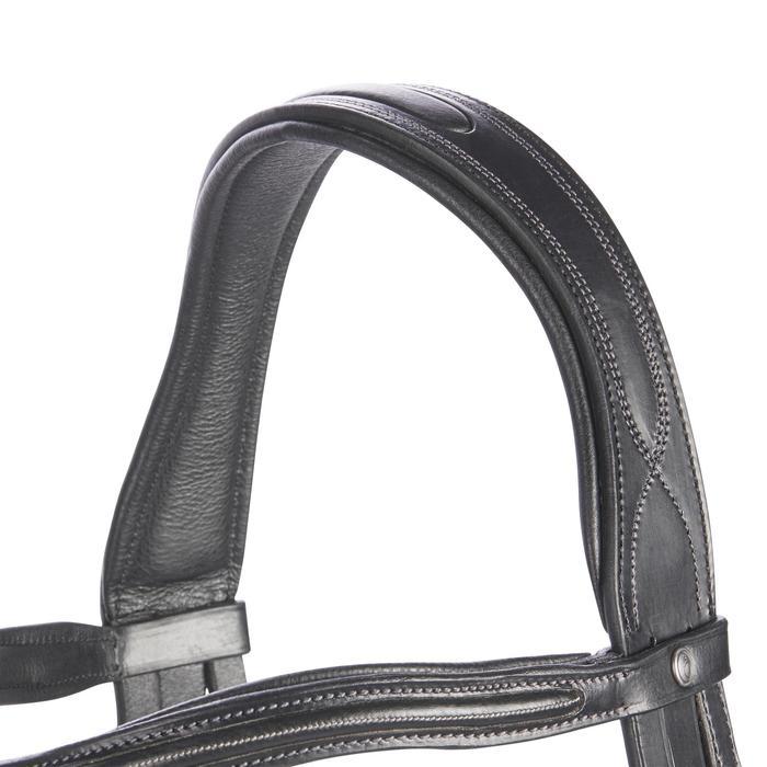 Hoofdstel ruitersport 580 met sierstiksels zwart - maat pony