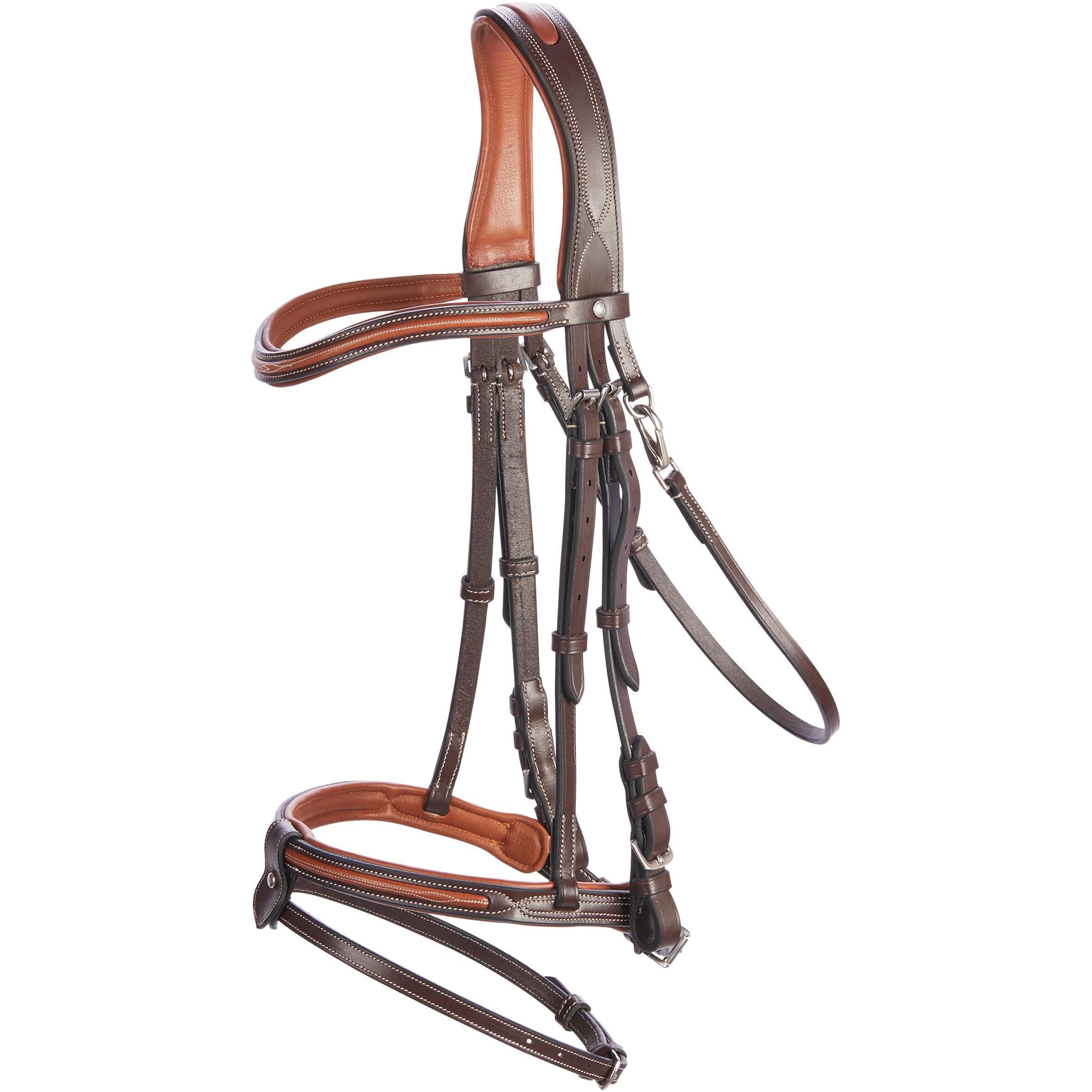 Fouganza Hoofdstel ruitersport 580 met sierstiksels bruin - maat paard