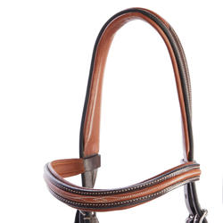 580 Topstitched Horseback Riding Bridle for Horses - Brown