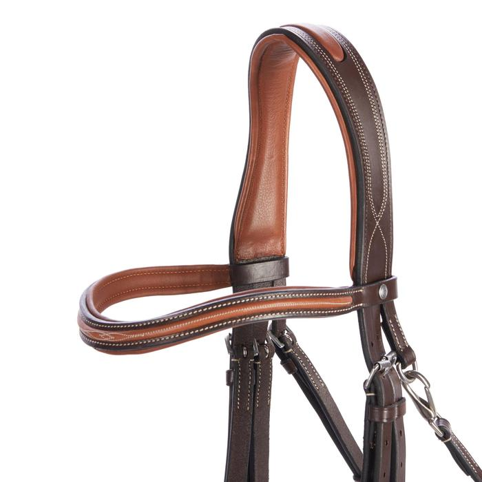 Hoofdstel ruitersport 580 met sierstiksels bruin - maat pony