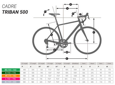 Triban 500 Cycle Touring Road Bike - Red