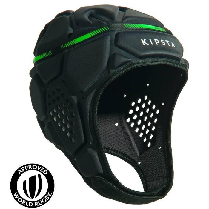 Rugbyhelm R500 donkergrijs/groen