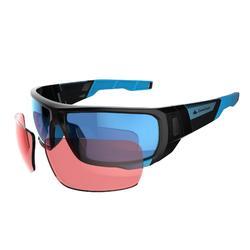 Gafas de senderismo adulto MH 910 negro y azul cristales intercambiables CAT4+2