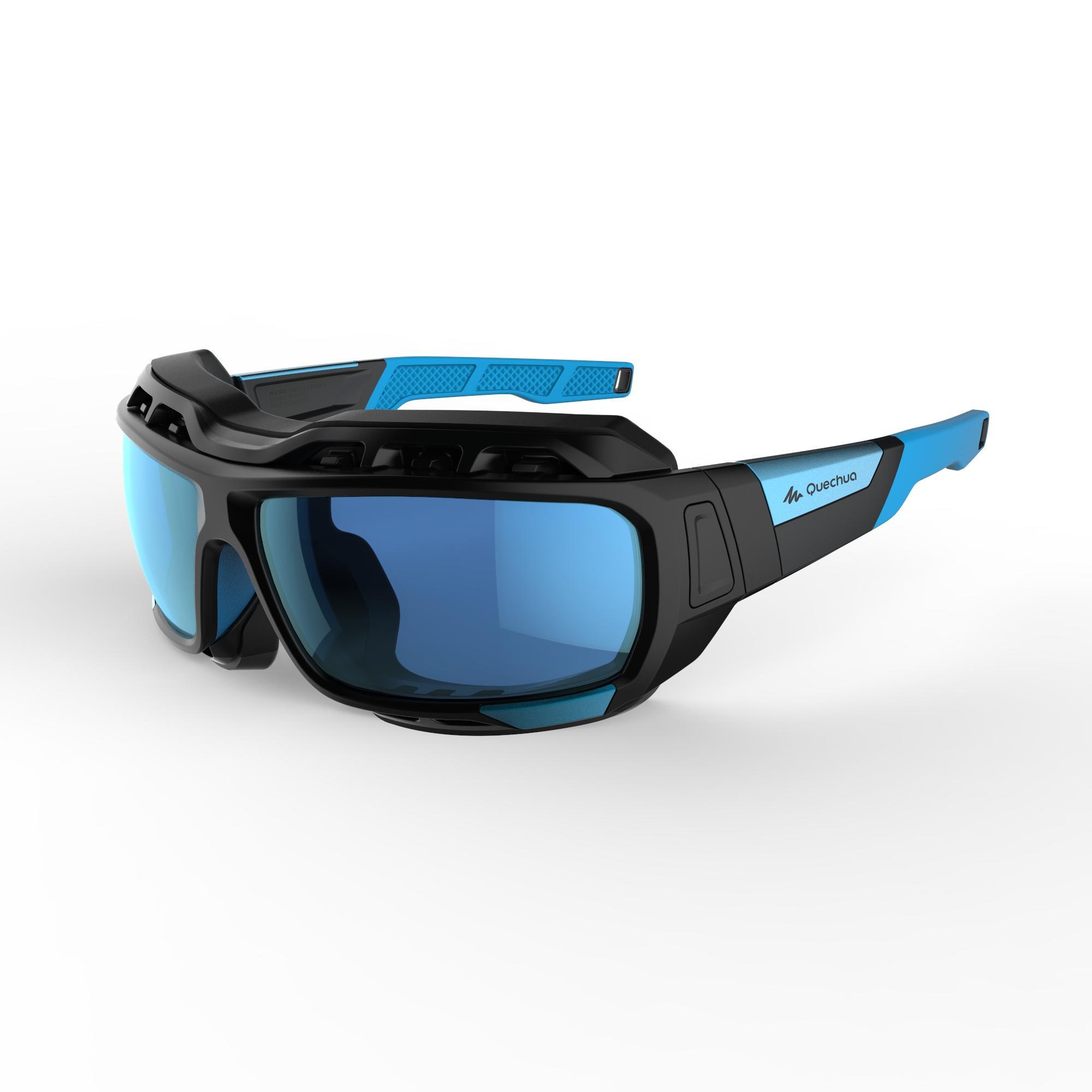 Hiking Sunglasses MH910 Category 4 (2 Interchangeable Lenses) - Black/Blue
