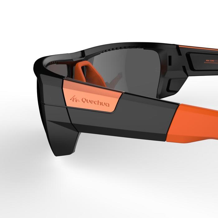 Lunettes de randonnée adulte MH 590 noires et orange polarisantes catégorie 4 - 1253625