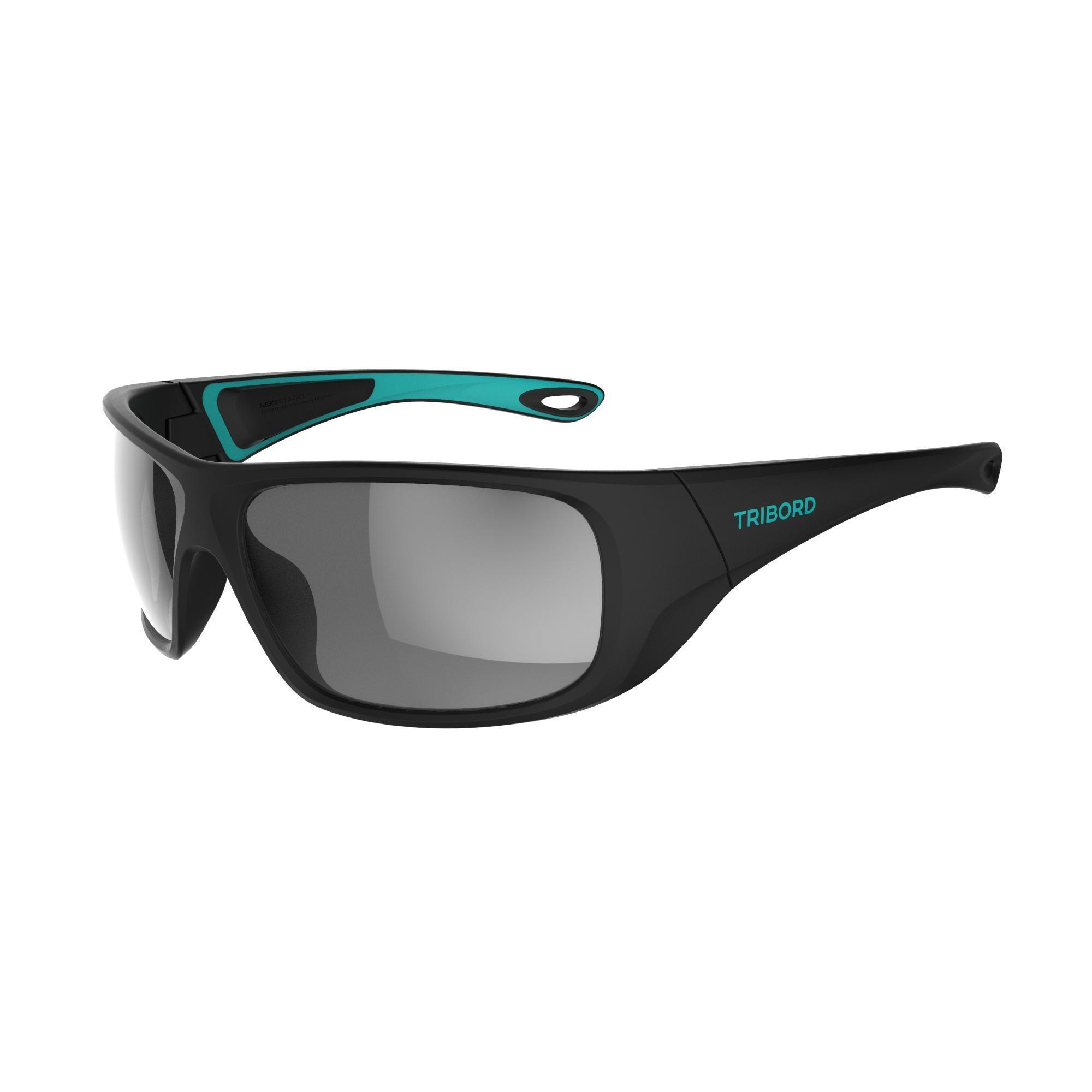 Tribord Watersportbril 500 voor volwassenen, zwart turquoise, polariserend categorie 3