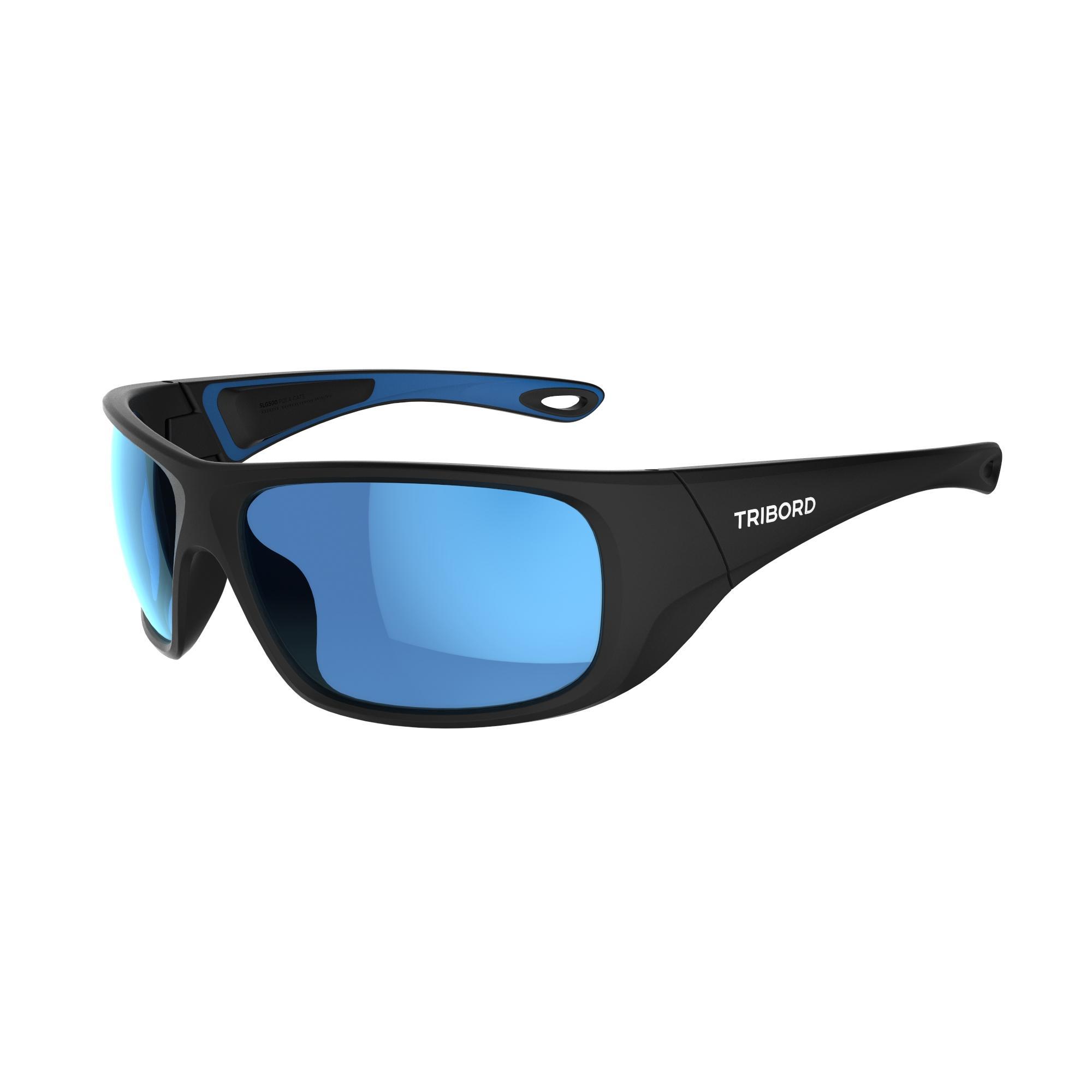 Tribord Watersportbril 500 voor volwassenen, zwart blauw polariserend cat. 3