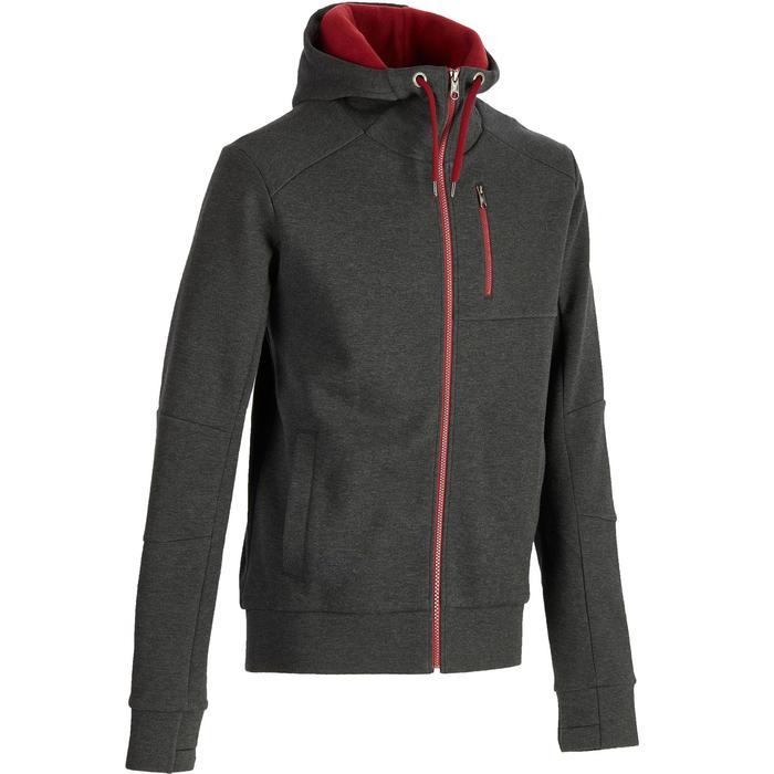 Warme hoodie voor fitness en pilates heren donkergrijs/bordeaux