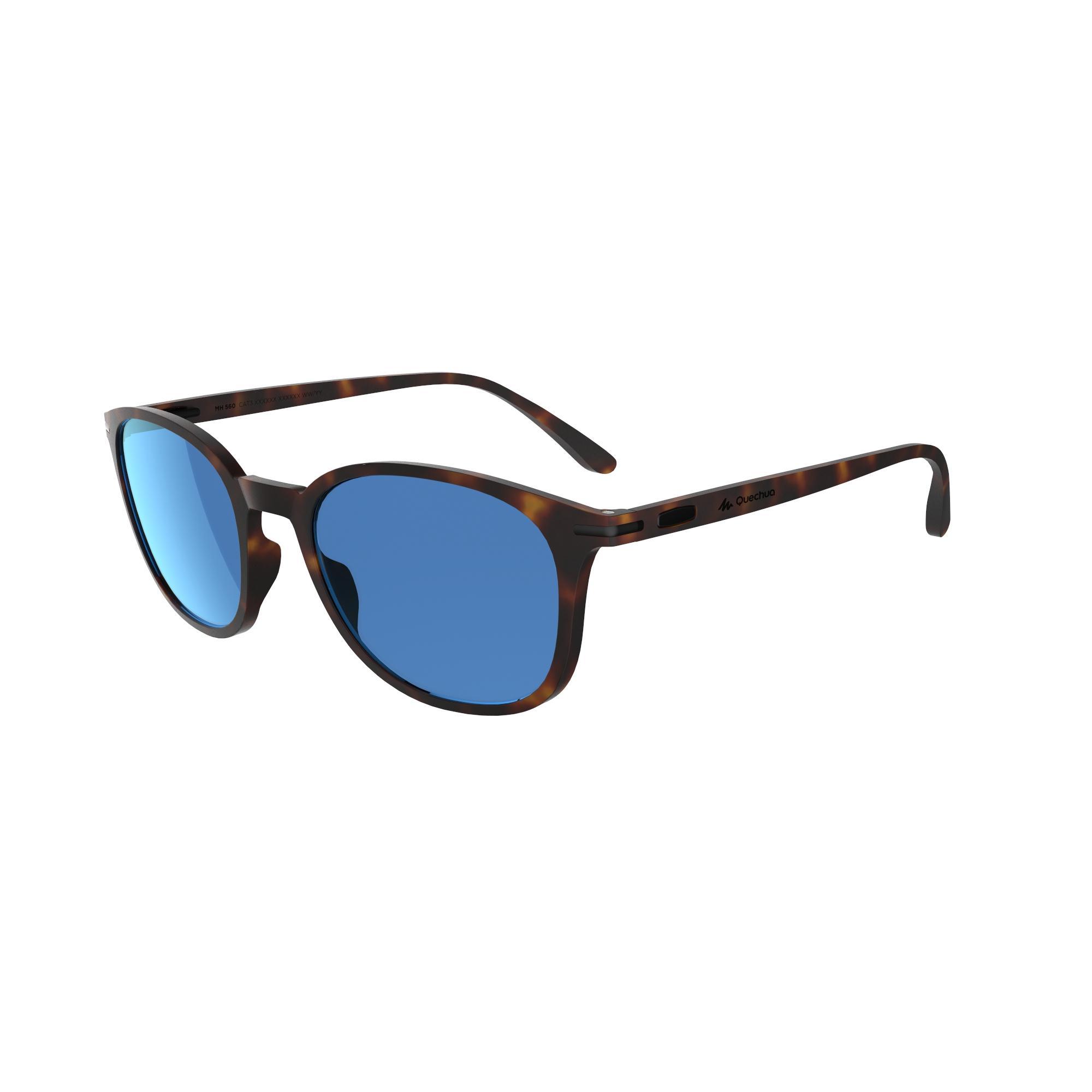 Quechua Zonnebril MH 560 voor wandelen bruin en blauw categorie 3