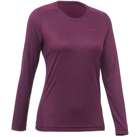 MH150 Women's Long-Sleeve Mountain Hiking T-Shirt - Plum