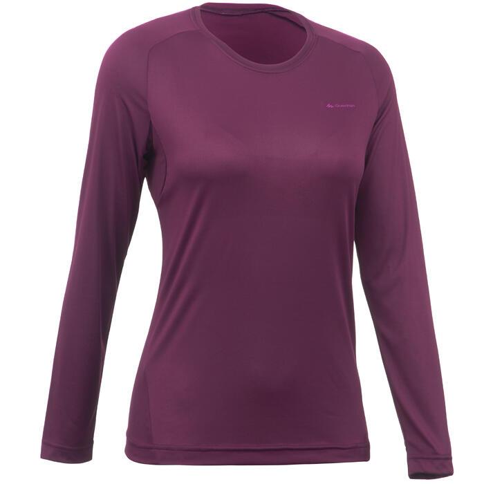 Tee-Shirt manches longues de randonnée montagne Femme MH150 Prune