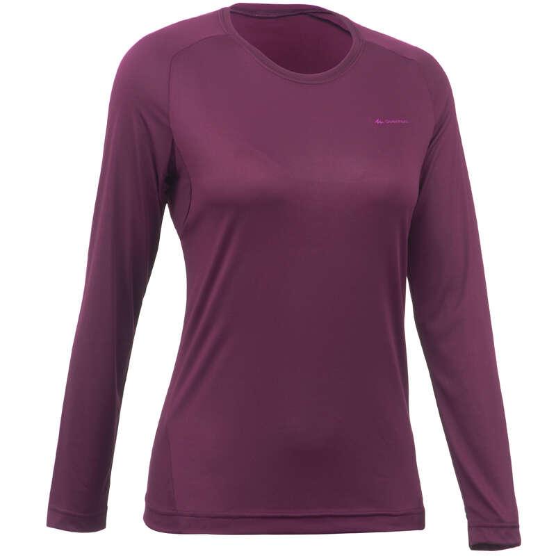 WOMEN MOUNT HIKING TEE SHIRTS, PANTS Hiking - MH150 W's LS T-shirt - Plum  QUECHUA - Hiking Clothes