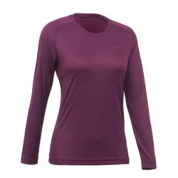 Camiseta de manga larga senderismo en montaña MH100 Mujer ciruela oscuro
