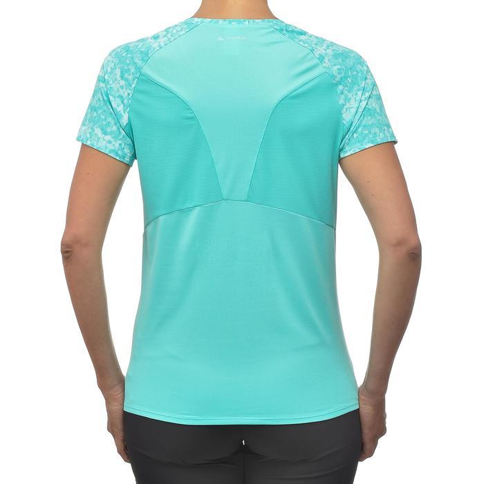 Camiseta Manga Corta de Montaña y Trekking Forclaz MH500 Mujer Azul turquesa
