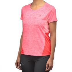 Camiseta manga corta de senderismo en montaña MH500 Mujer rojo coral