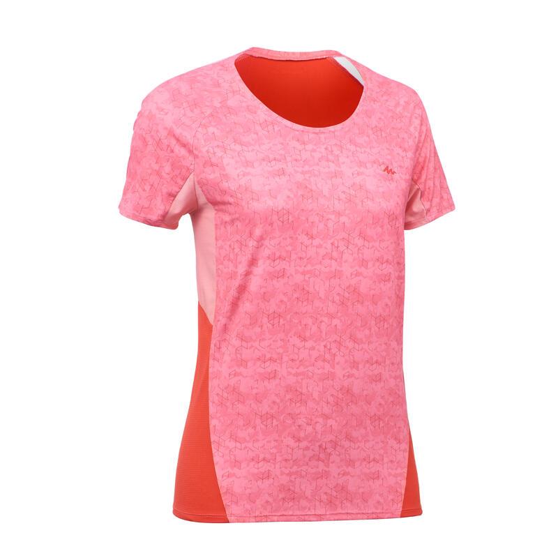 Tee-Shirt manches courtes de randonnée en montagne MH500 Femme Corail Rouge