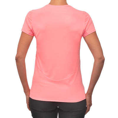 MH100 Women's Short-sleeved Mountain Hiking T-Shirt - Litchi Pink