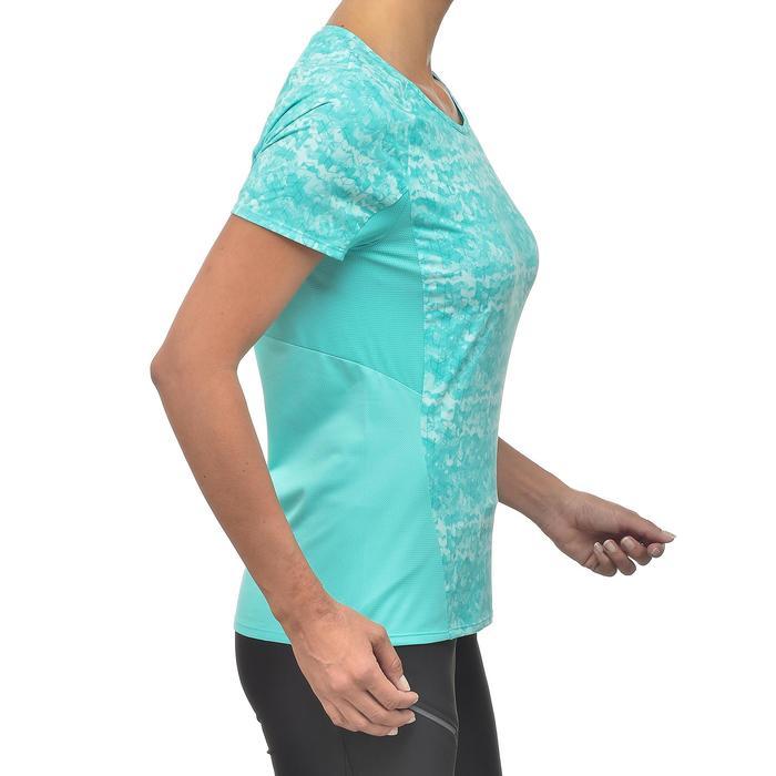 Camiseta de manga corta de senderismo en montaña MH500 mujer azul turquesa