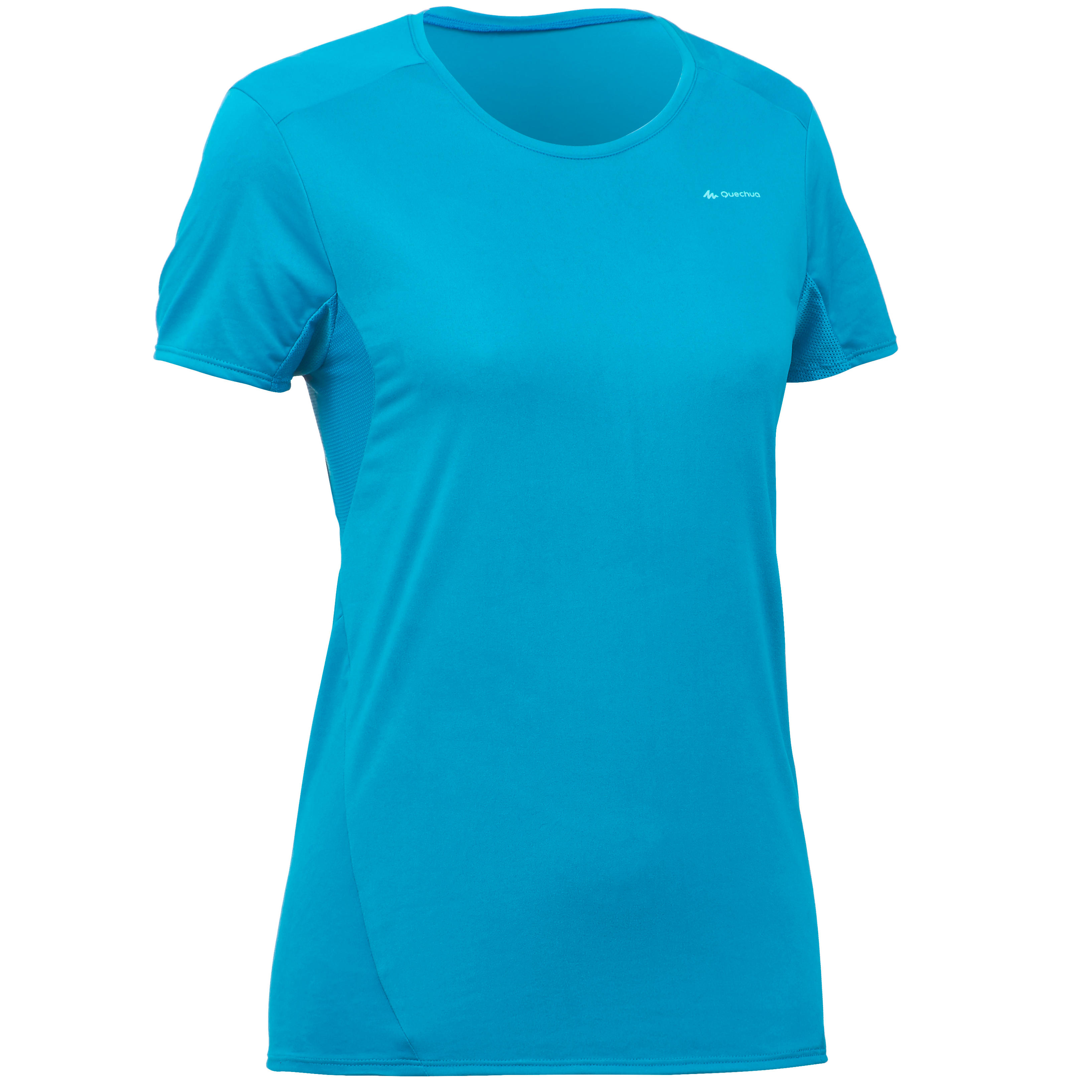 Women's short-sleeved MH100 mountain hiking t-shirt - Turquoise Blue