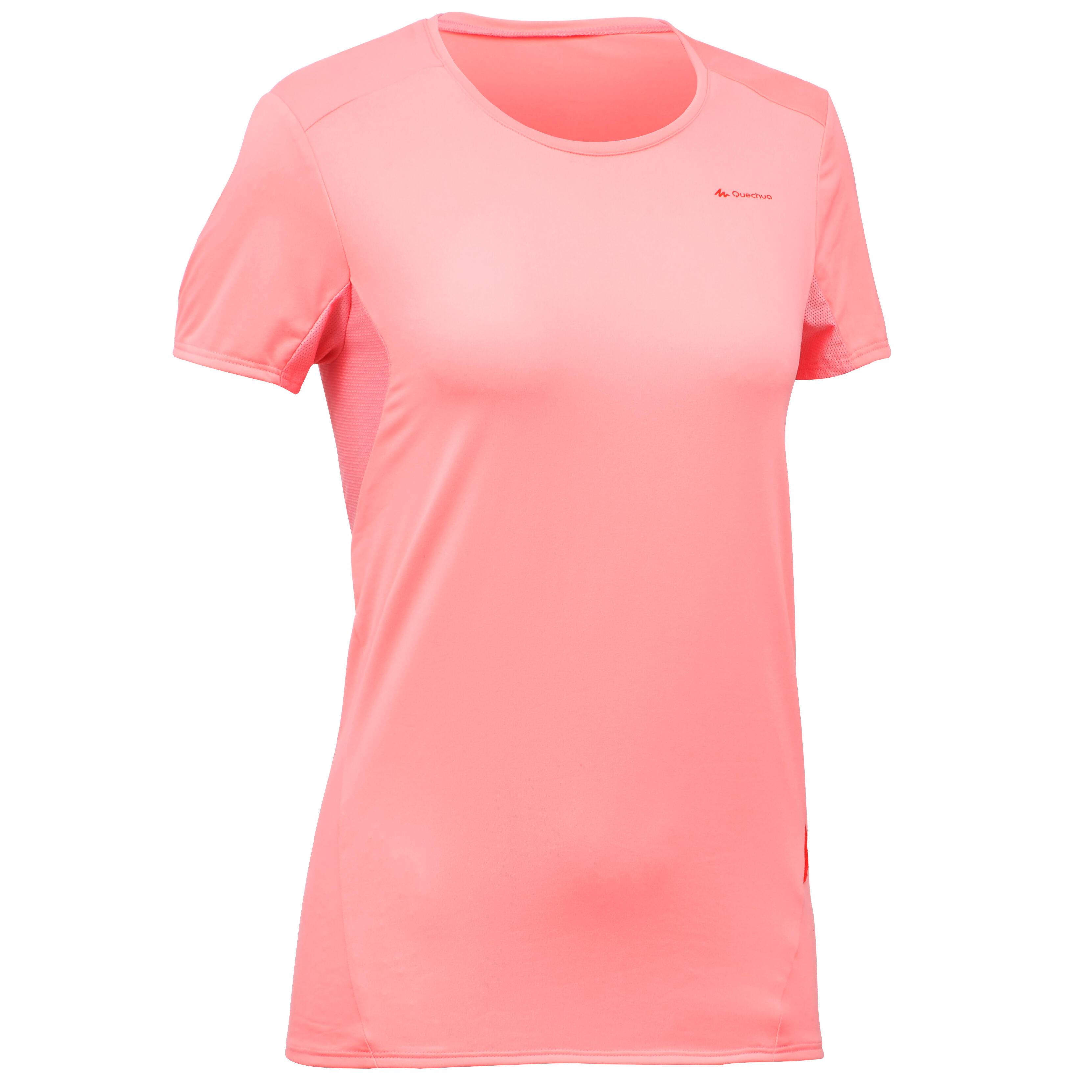 Playera de manga corta de senderismo en montaña MH100 mujer rosa lichi