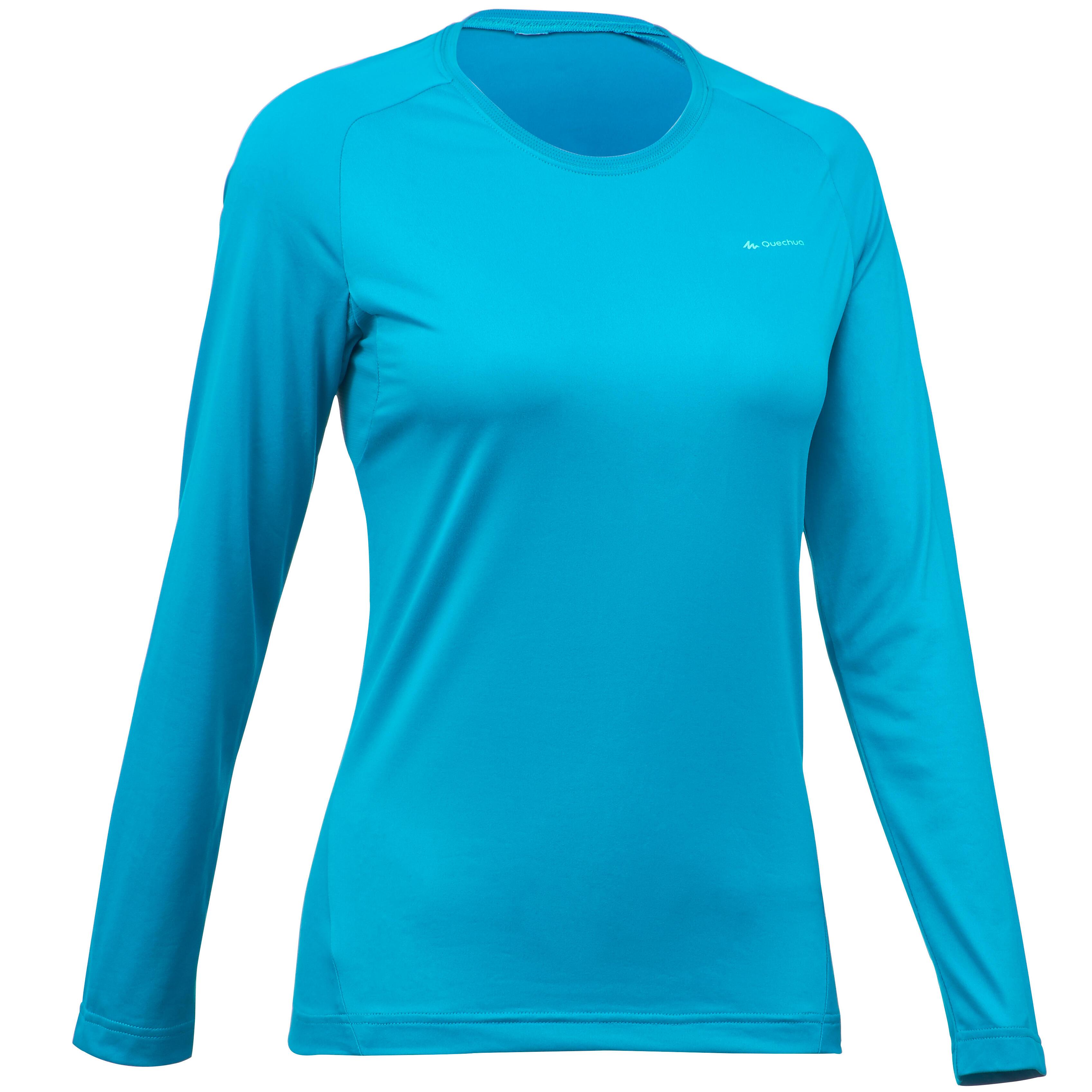 MH150 Women's Long Sleeved Mountain Hiking T-Shirt - Turquoise