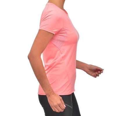 Camiseta de manga corta de senderismo en montaña MH100 mujer rosado liche