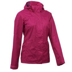 Women's waterproof mountain walking rain jacket MH100 – Pink