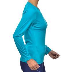 Camiseta de manga larga de senderismo montaña Mujer MH150 Azul turquesa