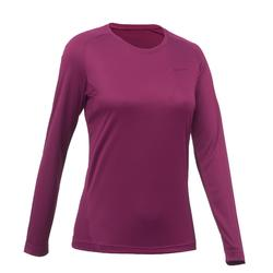 MH100 Women's Mountain Hiking Long-Sleeved T-Shirt - Light Plum