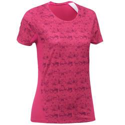 女款登山健行短袖T恤MH500-粉紅色