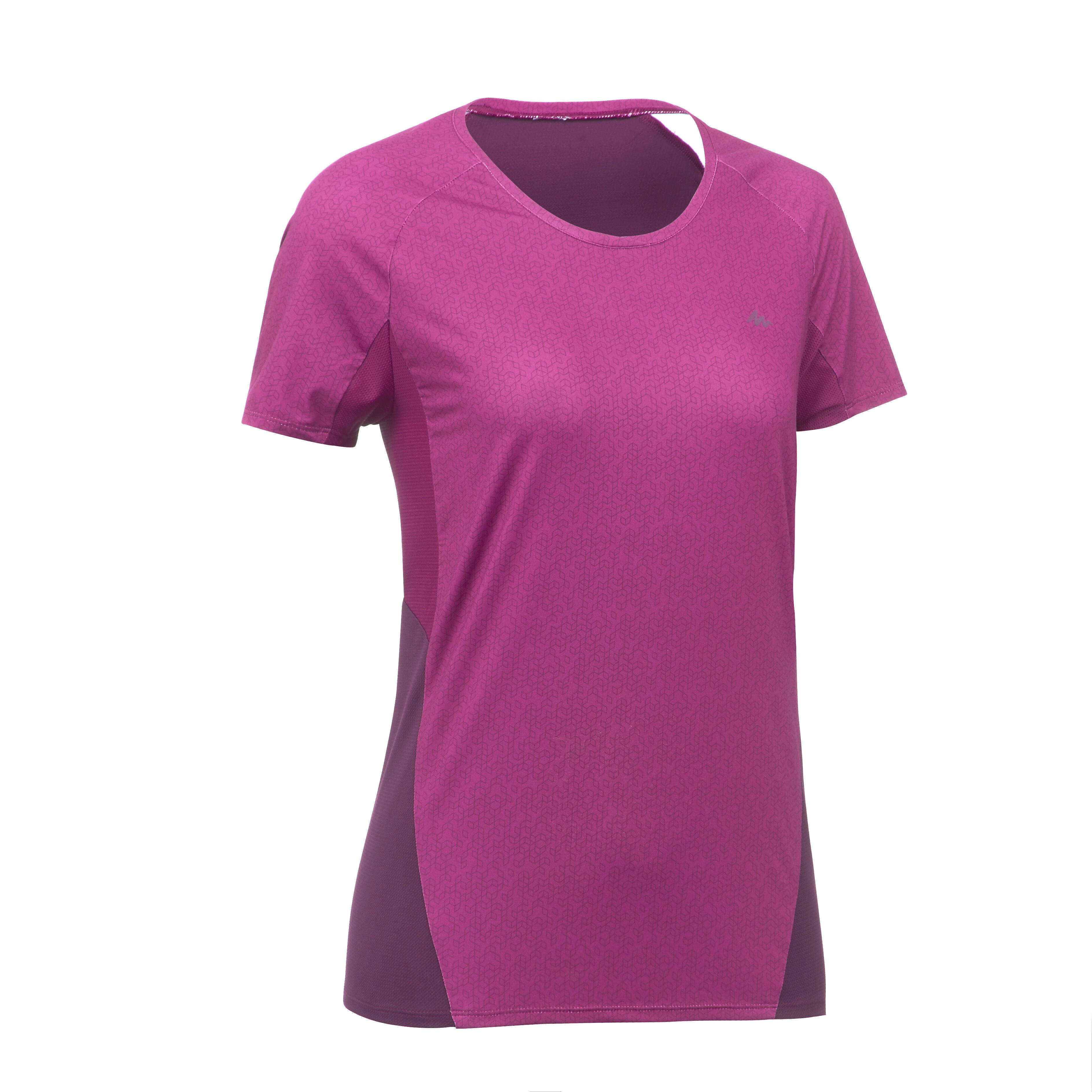 T-Shirt manches courtes de randonnée en montagne MH500 Femme Prune