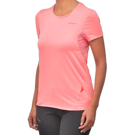 Women's Mountain Walking Short-Sleeved T-Shirt MH100 - Lychee Pink