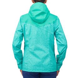 Veste de pluie imperméable de randonnée montagne MH100 Femme Turquoise chiné