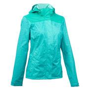 Chamarra de lluvia impermeable senderismo en montaña MH100 Mujer azul turquesa