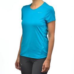 Camiseta Manga Corta de Montaña y Trekking Quechua MH100 Mujer Azul turquesa