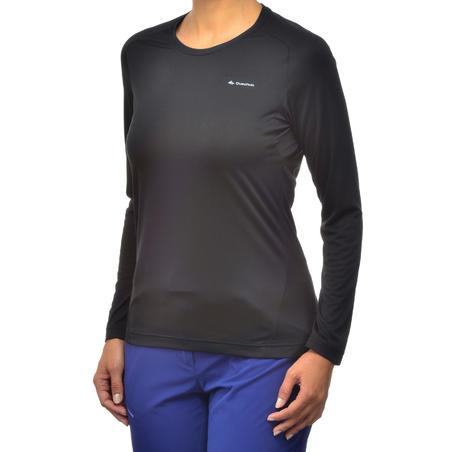 MH100 Women's Long-sleeved Mountain Hiking T-Shirt - Black