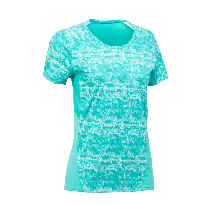 Camiseta de manga corta senderismo montaña Mujer MH500 Azul turquesa