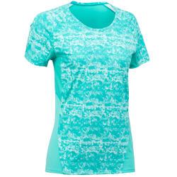 女款健行短袖T恤MH100-淺碧藍色