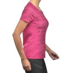 Dames T-shirt met korte mouwen voor bergwandelen MH500 roze