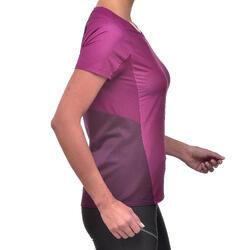 Camiseta de manga corta de senderismo en montaña MH500 mujer ciruela