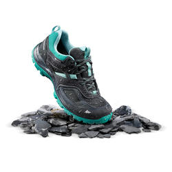 Zapatillas de senderismo montaña mujer MH100 impermeable Negro Azul turquesa
