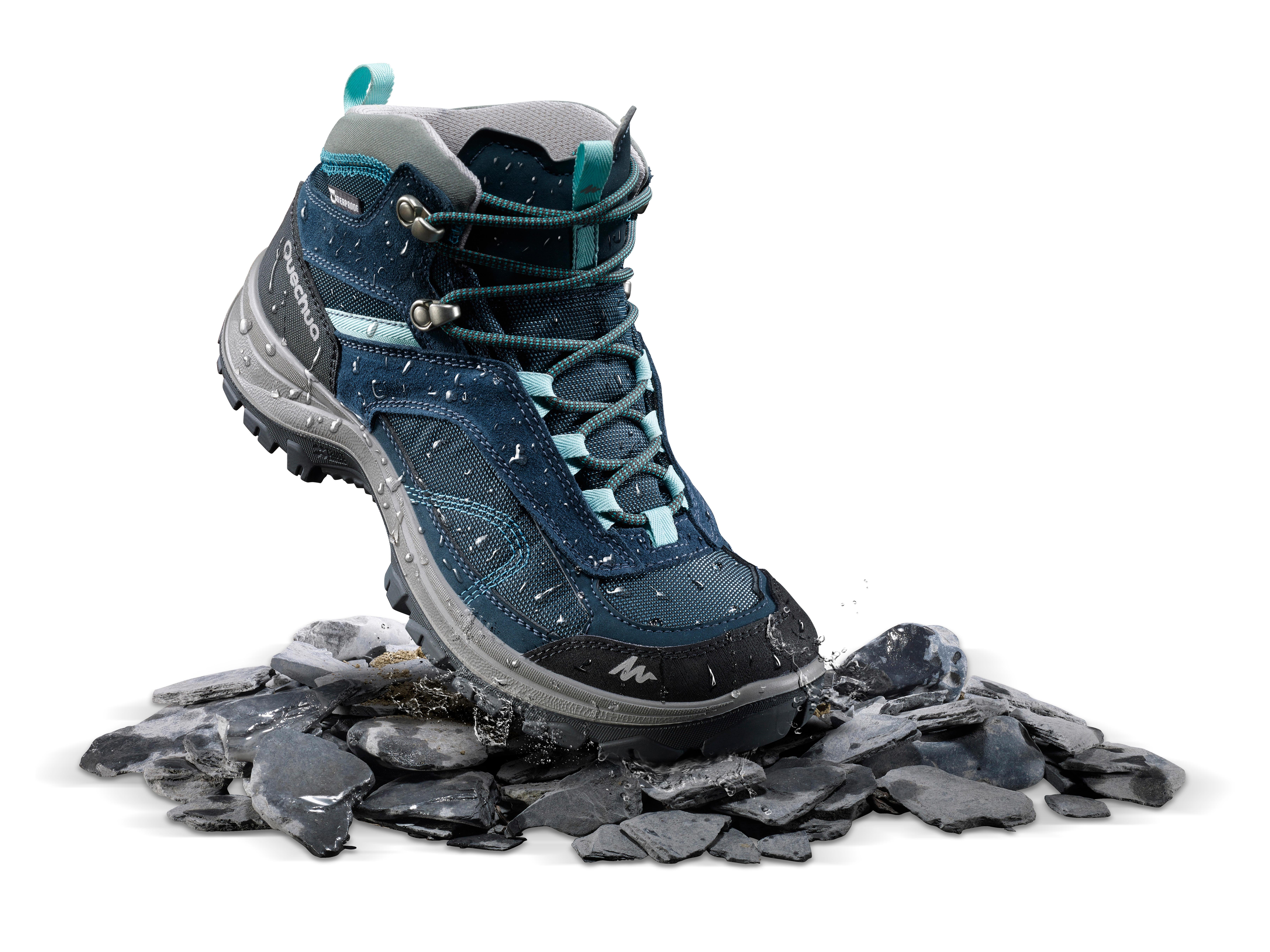 Chaussures de randonnée montagne Femme MH100 Mid imperméable Turquoise